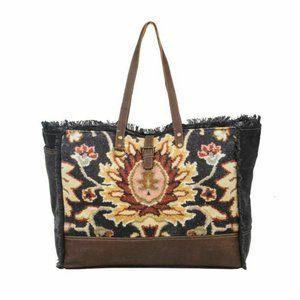 Myra Bag Black Fern Weekender Tote Canvas Leather